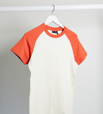 ASOS DESIGN Tall muscle fit t-shirt with contrast raglan sleeves in white and red