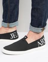 Armani Jeans Logo Slip On Plimsolls In Black