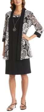 R & M Richards Plus Size Mesh Long Jacket & Solid Sheath Dress