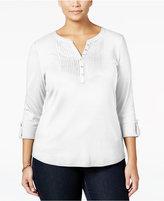 Karen Scott Plus Size Pintucked Henley Top, Only at Macy's