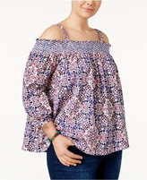 Jessica Simpson Trendy Plus Size Printed Off-The-Shoulder Top