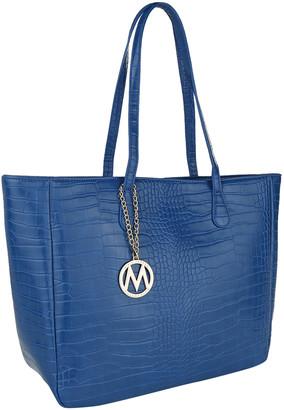 Mkf Collection By Mia K. MKF Collection by Mia K. Women's Handbags Royal - Royal Blue Croc-Embossed Tote