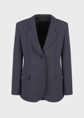 Emporio Armani Blazer With Chevron Motif And Flowing Fabric