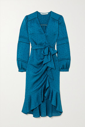 Veronica Beard Miriam Ruffled Satin-jacquard Wrap Midi Dress - Blue
