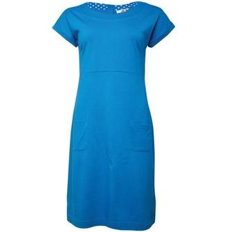 Weird Fish Womens Talia Cotton Jersey Plain Dress Blue Wash