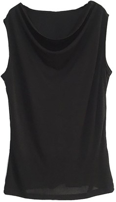 LSHARON Women's 100% Mulberry Silk Sexy Tops New Sleeveless Comfy Fit Swing Neck Silk T-Shirt (M(Tag XL)