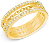 Swarovski Gold-Tone Crystal Pavé Stack Ring