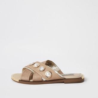 River Island Beige cross over strap embellished sandals
