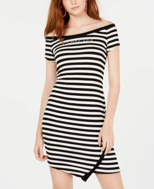 Bebe Striped Bling-Logo Bodycon Dress