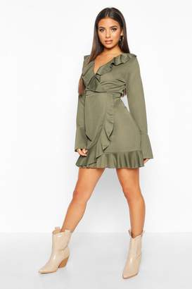 boohoo Ruffle Detail Tea Dress