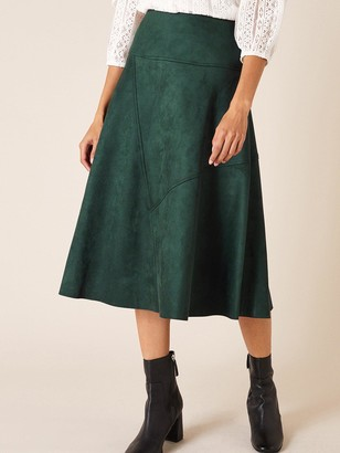Monsoon Suedette Sustainable Skirt - Green
