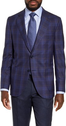 Peter Millar Hyperlight Classic Fit Plaid Wool Blend Sport Coat