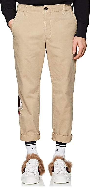 Gucci Men's Dragon-Appliquéd Cotton Trousers