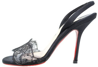 Christian Louboutin Black Lace Slingback Sandals Size 35.5