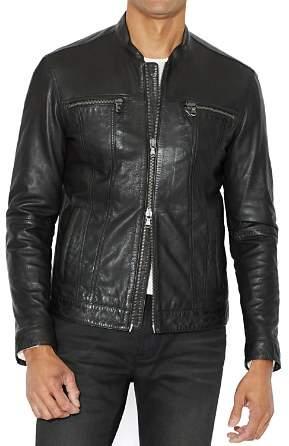 John Varvatos Leather Band Collar Moto Jacket