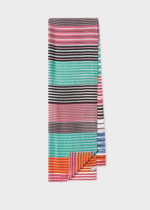 Women's Multi-Colour Stripe Sheer Silk-Blend Scarf
