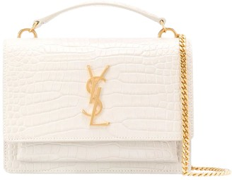 Saint Laurent White Croc Sunset Monogram Bag