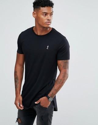 Religion longline logo t-shirt in black