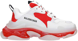 Balenciaga Triple S Sneakers In White Leather And Fabric