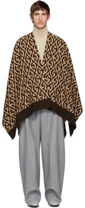 Gucci Beige Logo Rhombus Wool Poncho