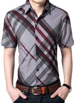 Liveinu Men's Casual Short Sleeve Buttondown Checkered Plaid Shirts XL