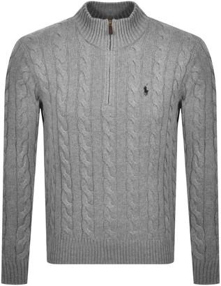 Ralph Lauren Half Zip Cable Knit Jumper Grey