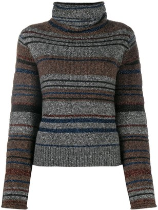 See by Chloe Turtle Neck Striped Knit Sweater