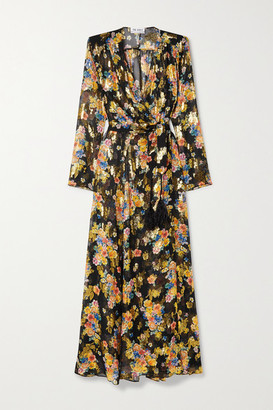 ATTICO Floral-print Fil Coupe Silk-blend Chiffon Wrap Maxi Dress - Black