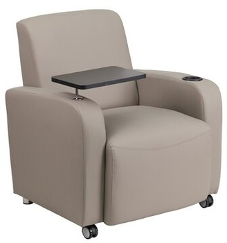 Ebern Designs Arborway Leather Lounge Chair Ebern Designs Casters/Glides: Yes