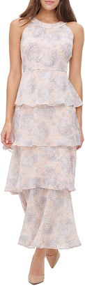 Tommy Hilfiger Women's Casual Dresses JAP - Powder & Gray Floral Sleeveless Tiered-Ruffle Maxi Dress - Women