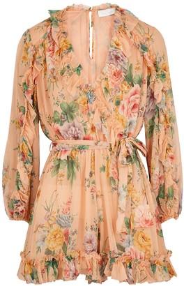 Zimmermann Zinnia Floral-print Silk Chiffon Playsuit