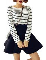 TRURENDI Vintage Women Stretch High Waist Short Plain Skater Flared Pleated Mini Skirt