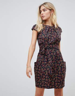Qed London QED London floral print tulip dress with pockets-Black