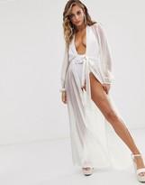 Asos Design DESIGN recycled long sleeve wrap tie chiffon maxi beach kimono in white