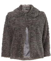 Mela Grey Fur Collared Jacket