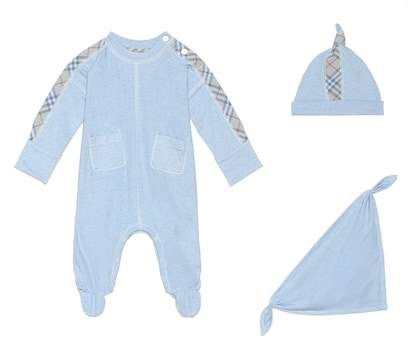 Burberry Onesie, hat and bib set
