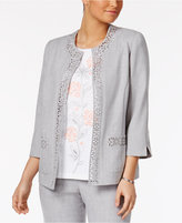 Alfred Dunner Rose Hill Laser-Cut Open-Front Jacket