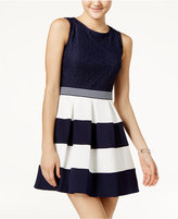 Speechless Juniors' Lace Colorblocked Fit & Flare Dress