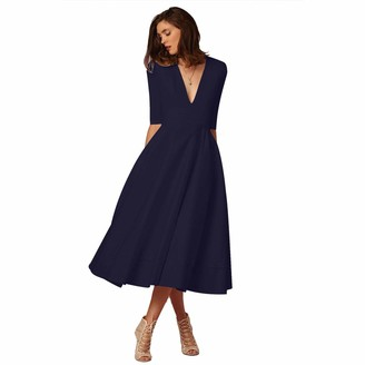 BEUHOME Women's Elegant Sexy Midi Dress Plus Size Ladies Deep V Neck Mid Sleeves Solid Color Autumn Winter Girls Fashion Swing Dress Daily Casual Loose Party Dresses