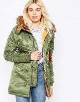 Alpha Industries Alpha Industried N3B Parka with Faux Fur Hood and Contrast Lining