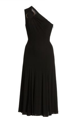 Versace Ring-Detailed Jersey One-Shoulder Midi Dress
