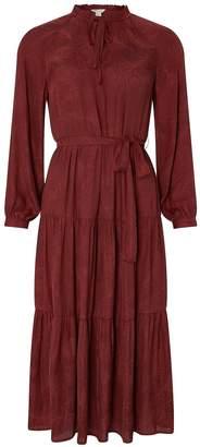 Monsoon Faye Tiered Satin Midi Dress - Berry