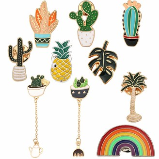 Willbond 10 Pieces Cute Enamel Lapel Pins Sets Including Pineapple Pin Rainbow Pin Tropical Palm Simulation Leaves Pin Cactus Pin for Clothing Bags Backpacks Jackets Hat
