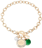 Rebecca Hollywood Stone Yellow Gold Over Bronze Chain Bracelet w/Hydrothermal Green Stone and Glass Pearl