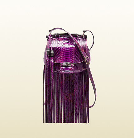 Gucci Nouveau Fringe Python Shoulder Bag