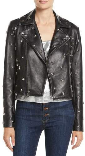 Alice + Olivia Cody Crop Star-Studded Leather Moto Jacket