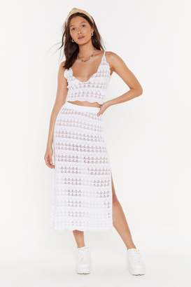 Nasty Gal Womens Cut To The Pointelle Crochet Crop Top - White - 8, White
