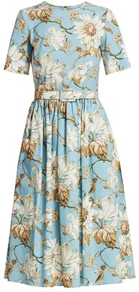 Oscar de la Renta Floral Poplin Pleat A-Line Dress