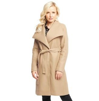 Onfire Womens Long Wool Mix Coat Camel