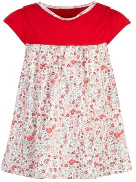 First Impressions Baby Girls Holiday Colorblocked Ditsy Floral Tunic, Created for Macy's